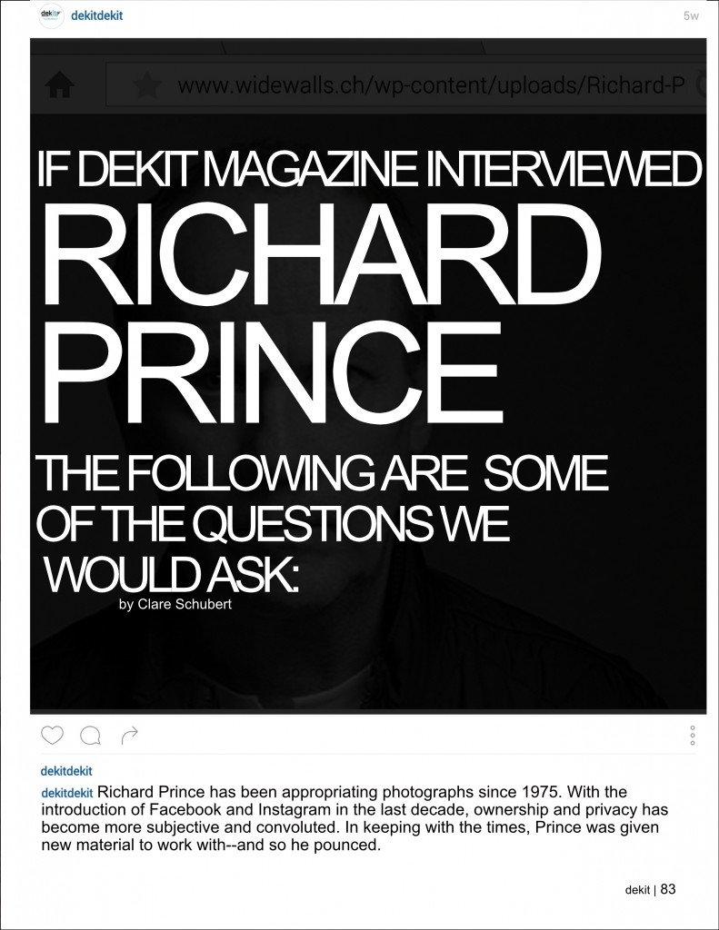 Dekit Magazine Richard Prince